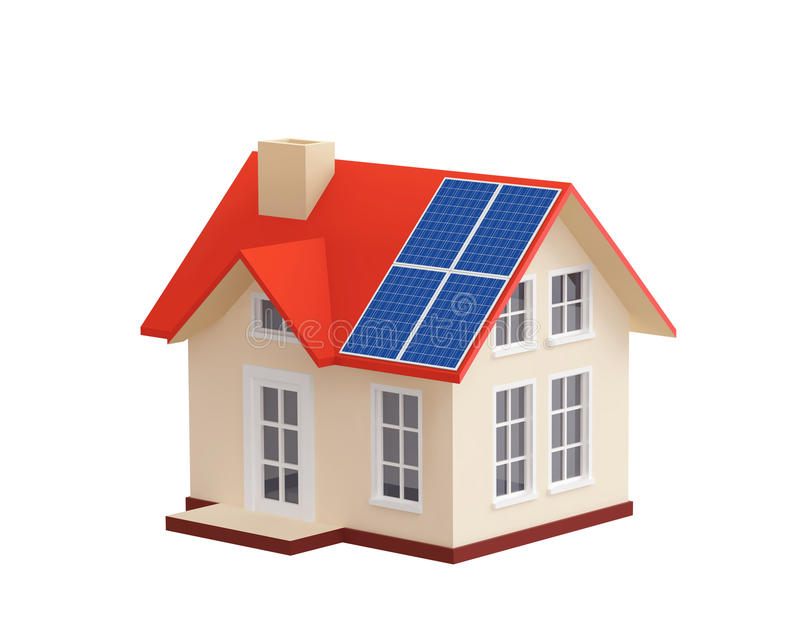 House with solar panels on a roof royalty free illustration