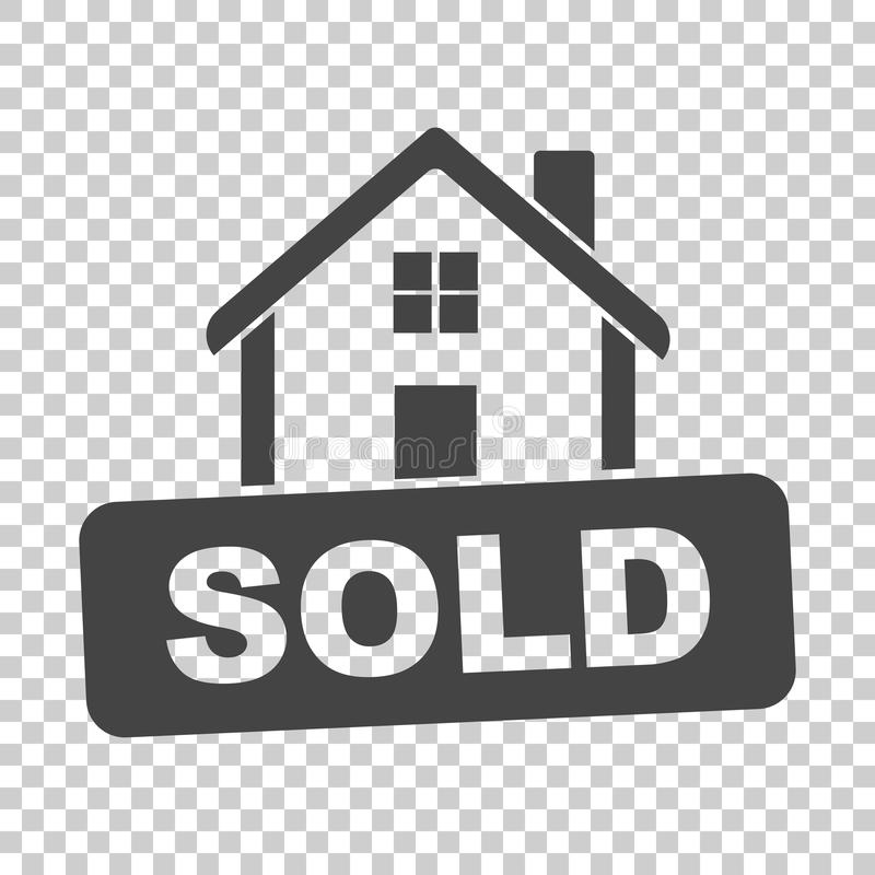 House with sold sign. Flat vector illustration on isolated background vector illustration