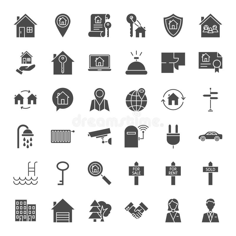 House Solid Web Icons royalty free illustration