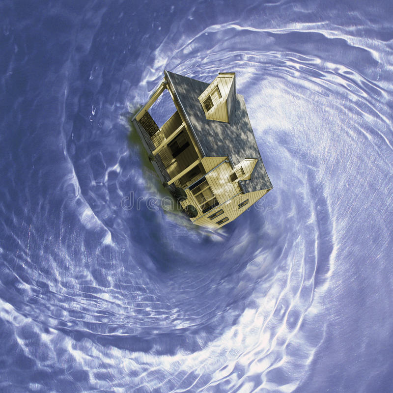 House in spinning whirlpool. Residential single family house spinning in whirlpool stock photos