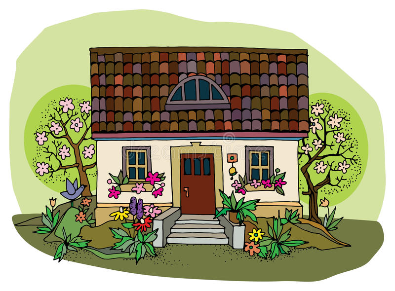 Download House in spring stock vector. Illustration of outline - 30395594