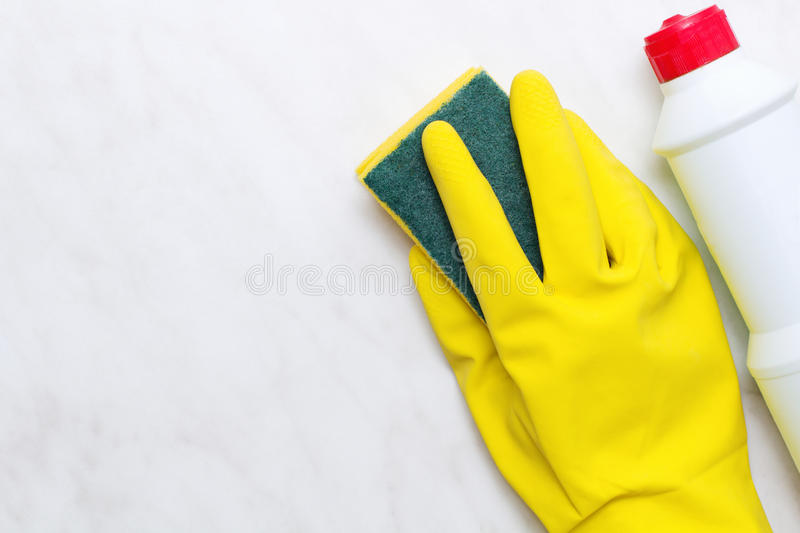 House spring cleaning concept. Cleaning products. Top view royalty free stock photo