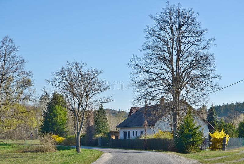 House in spring landscape, southern Bohemia. Czech Republic royalty free stock photos