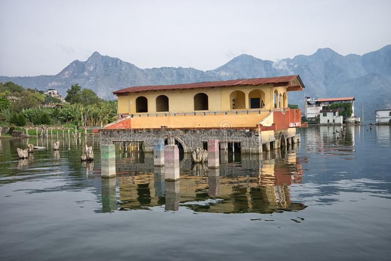 House standing in water in Guatemala stock photo