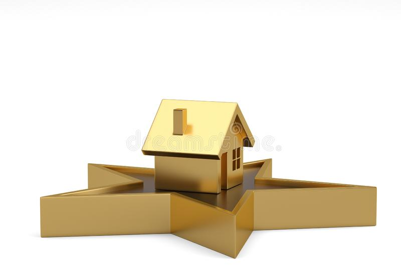 House and star isolated on white background. 3D illustration.  royalty free illustration