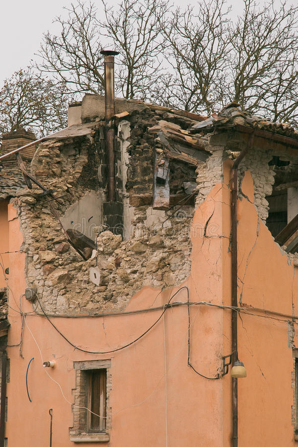 House after strong earthquake natural disaster royalty free stock photography