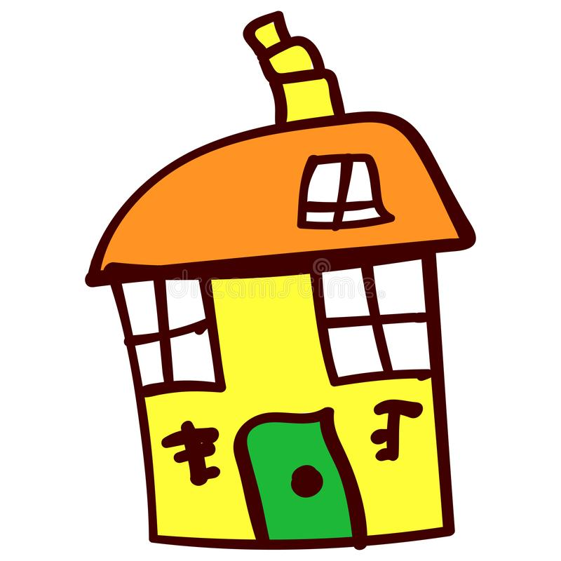House in the style of childrens drawings. Big yellow crooked house in the style of childrens drawing. illustration. Isolated white background vector illustration