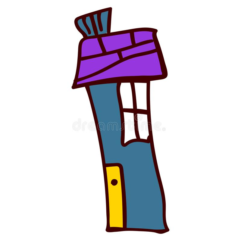 House in the style of childrens drawings. Tall blue crooked house in the style of childrens drawing. illustration. Isolated white background royalty free illustration