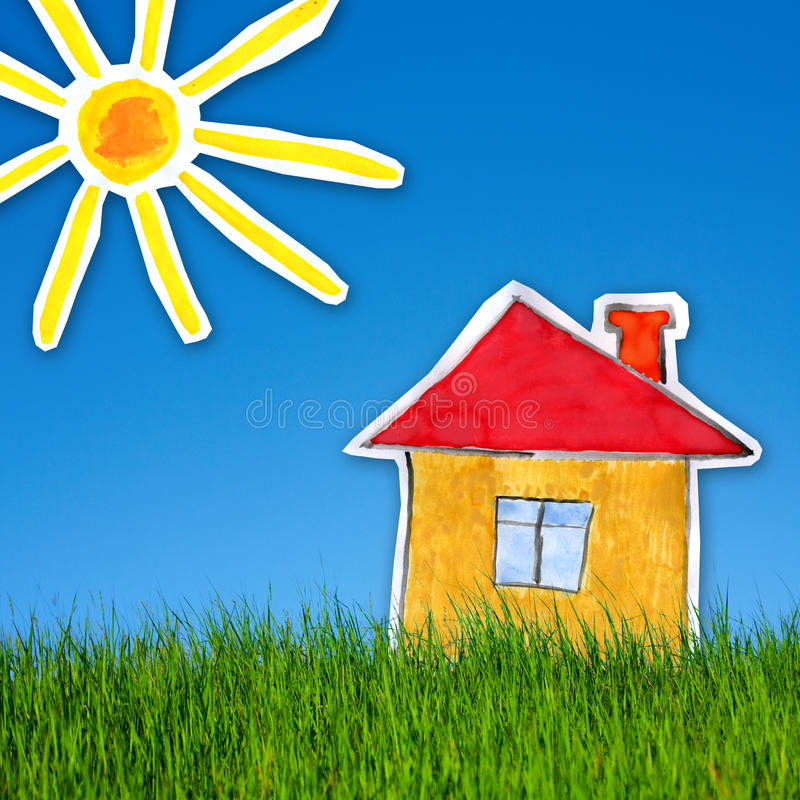 House and sun on the background of green grass and blue sky. Collage of childlike gouache painting of house and sun on the background of green grass and blue sky royalty free stock photos