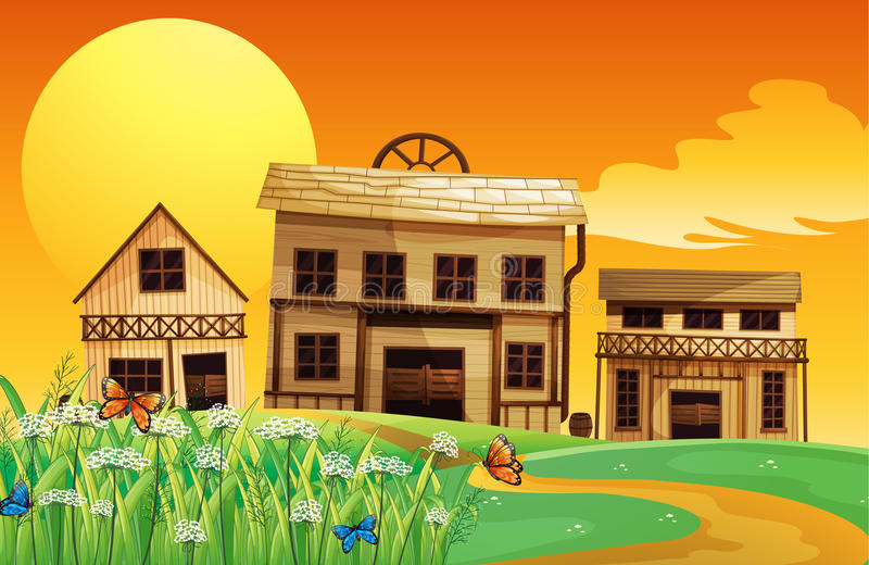 A house and a sunset view royalty free illustration