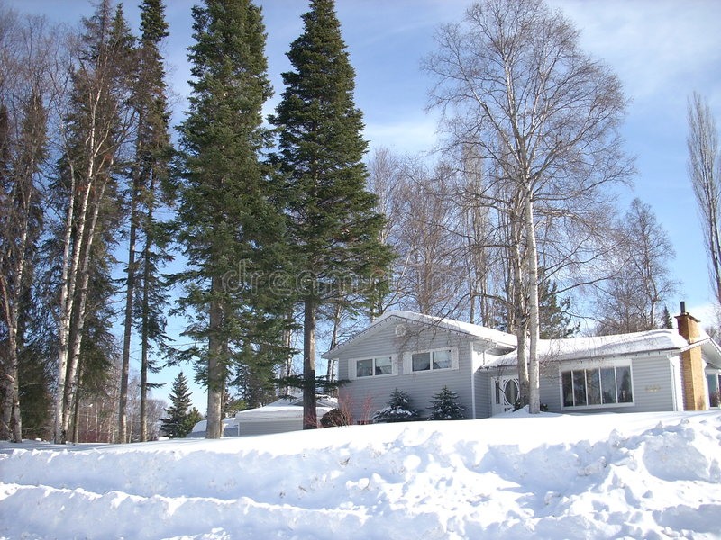 House Surrounded By Snow Royalty Free Stock Photo
