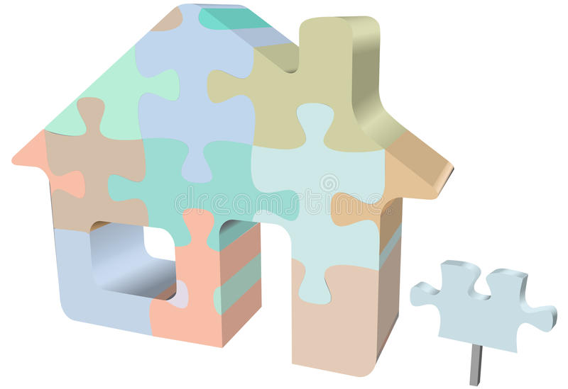 House symbol home jigsaw puzzle with sign. A colorful house jigsaw puzzle as a symbol of homes, real estate, construction problems and solutions vector illustration