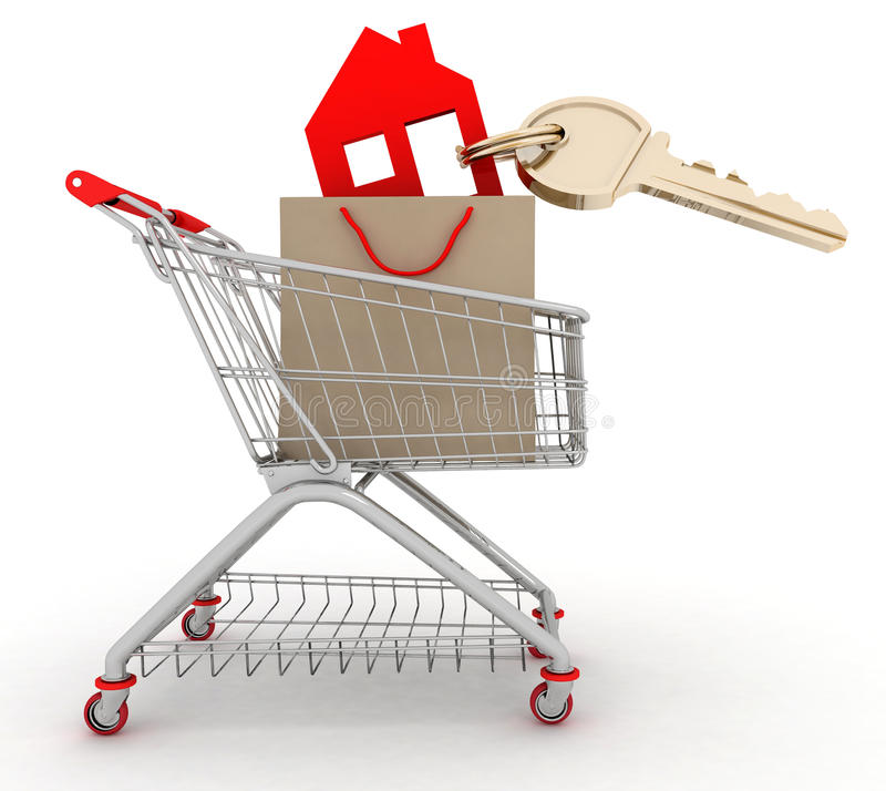 House symbol with key in a paper shopping bag and shopping cart royalty free illustration