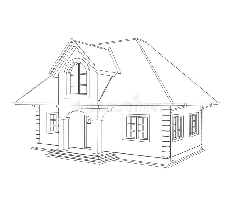 Download House technical draw stock illustration. Illustration of paperwork - 20382137
