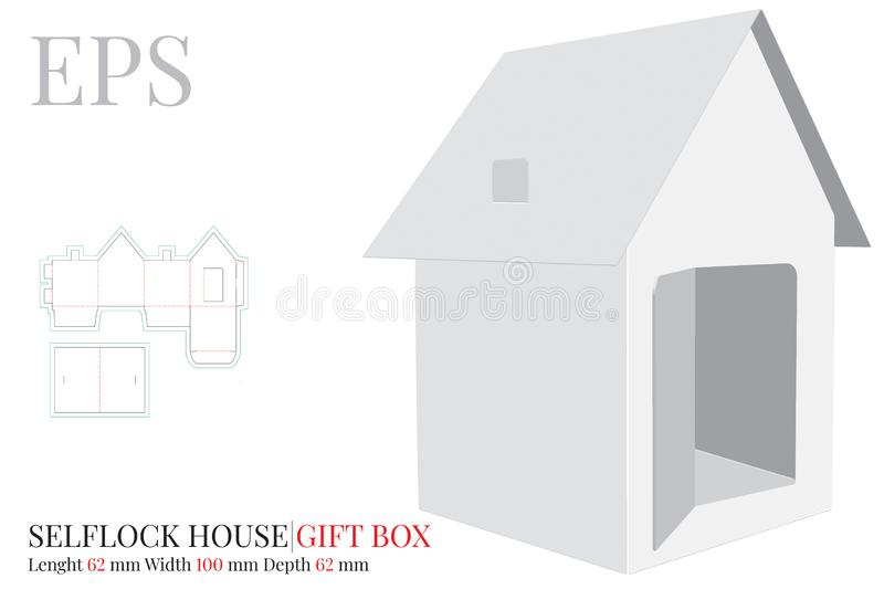 House Template, Vector with die cut / laser cut layers. Paper House with heart door. White, clear, blank, isolated House mock up vector illustration