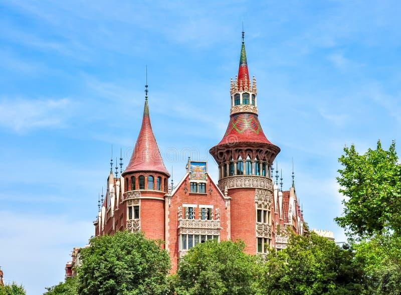 House with thorns of Casa de les Punxes Casa Terradas house in Barcelona, Spain royalty free stock photos