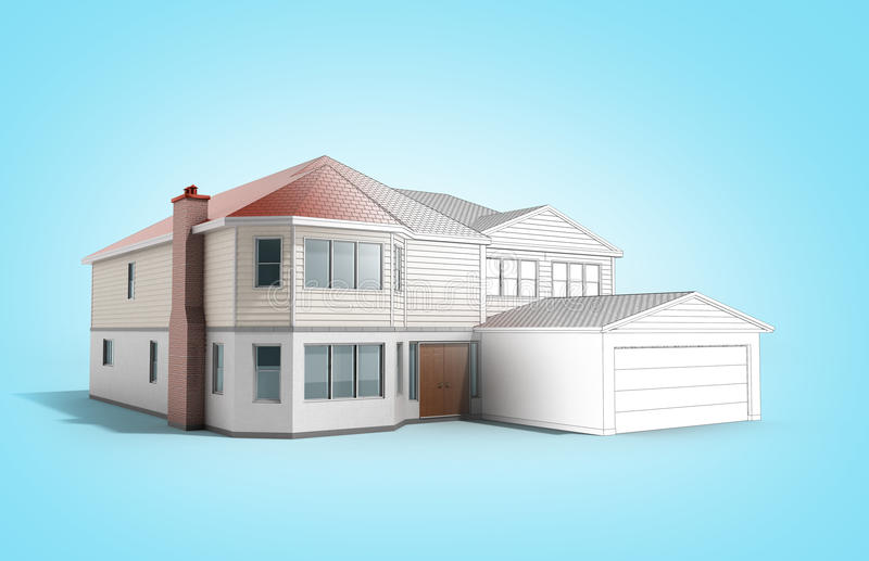 House Three-dimensional image building concept 3d render on blue. Image royalty free illustration