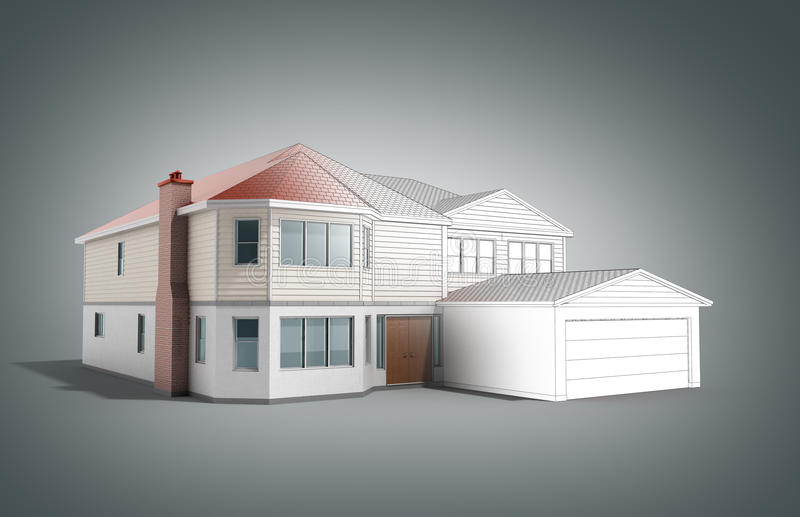 House Three-dimensional image building concept 3d render on grey. Image royalty free illustration