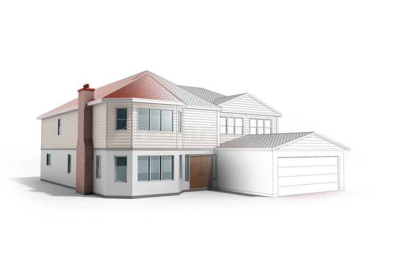 House Three-dimensional image building concept 3d render on whit. E stock illustration