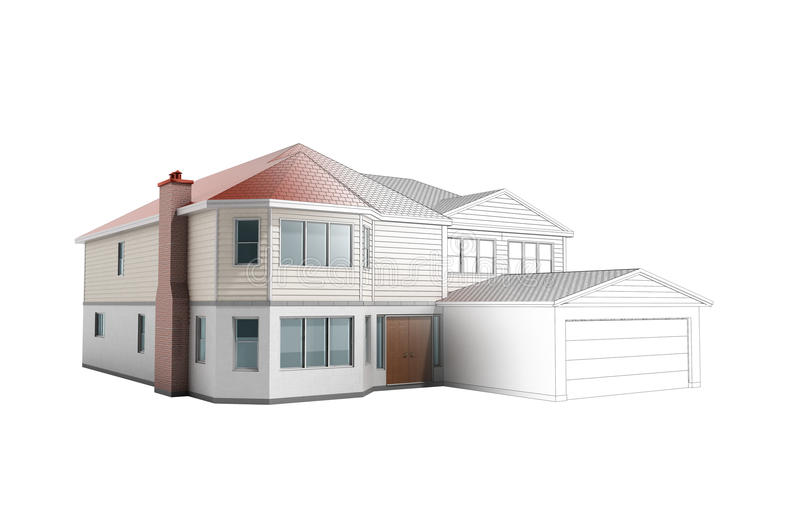 House Three-dimensional image building concept 3d render on whit. E no shadow stock illustration