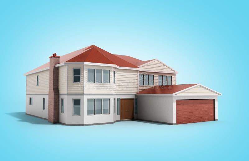 House Three-dimensional image 3d render on blue. Image vector illustration