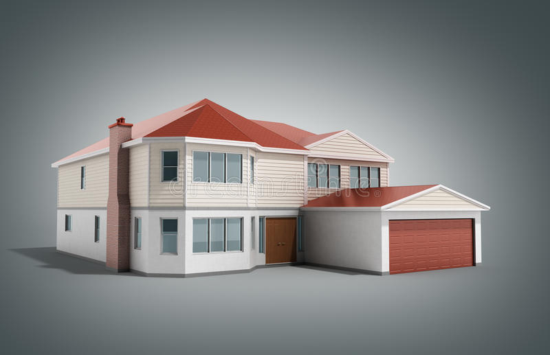 House Three-dimensional image 3d render on grey. Image stock illustration