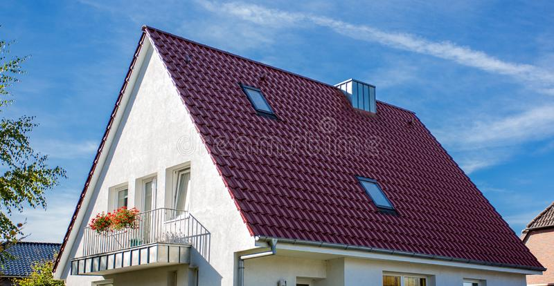 House with a tiled roof.  stock photo