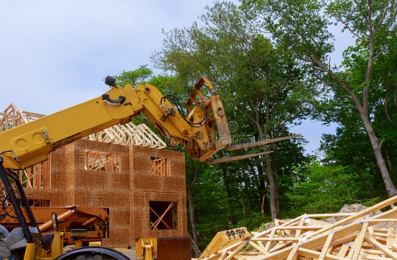 House timber frame for a progressing house a new development timber. House beam frame for a progressing house building structure on a new development timber royalty free stock photography