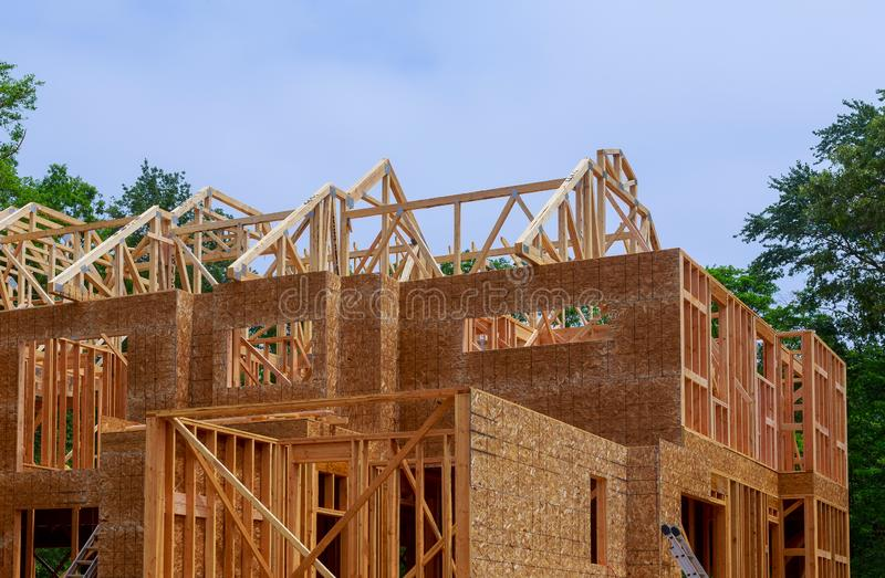 House timber frame for a progressing house a new development timber. Frame for a progressing house building frame structure on a new development timber stock photography