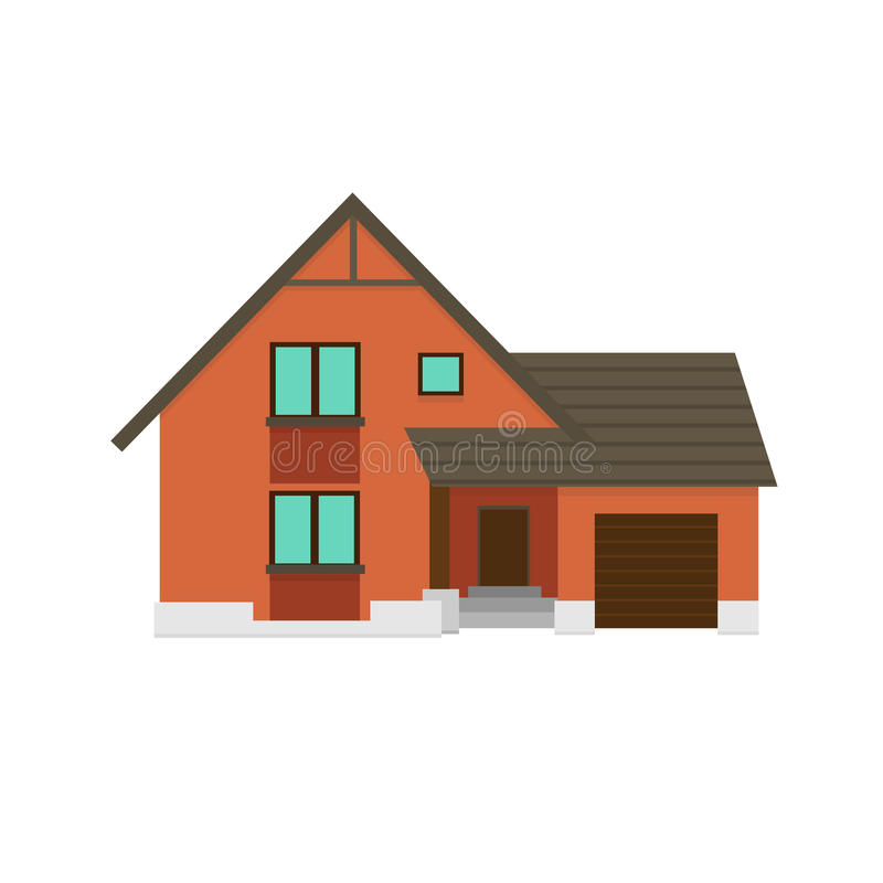 House to create a streetscape. Flat color vector illustration stock photos