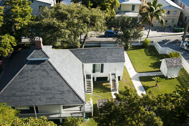 House from the top. View of a house from the top with perfect grass and palm trees - Key West, USA 2010 stock image