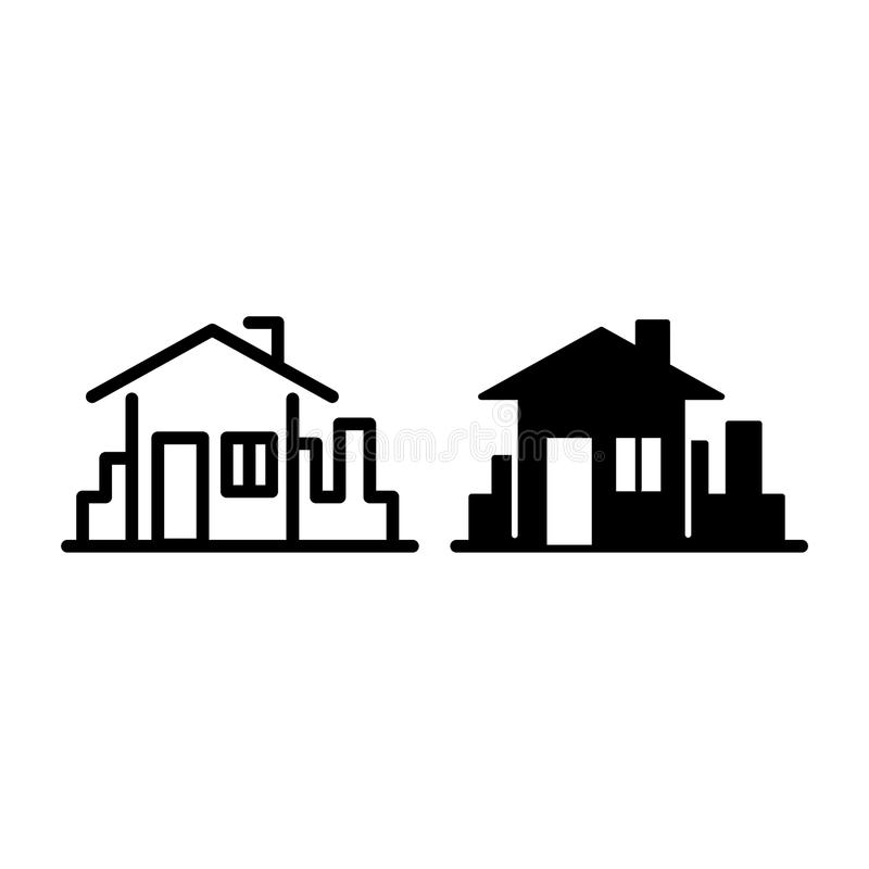 House in town line and glyph icon. Home in the city background vector illustration isolated on white. Buildind outline stock illustration