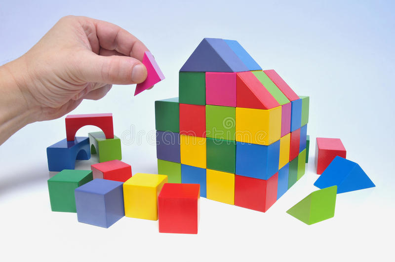 Download House with toy bricks stock image. Image of education - 21431713