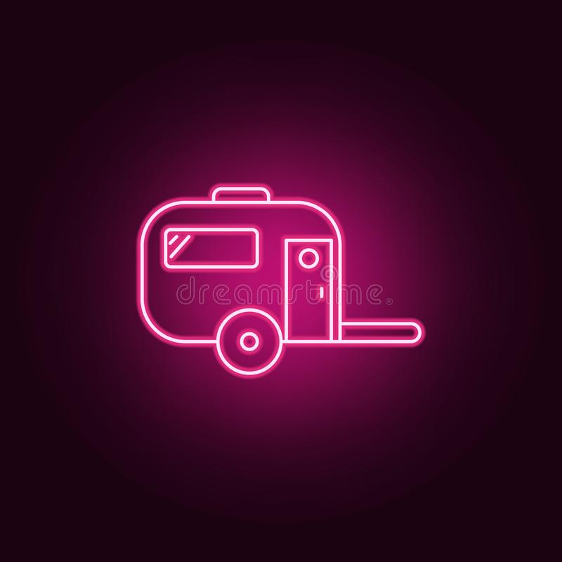 House trailer neon icon. Elements of web set. Simple icon for websites, web design, mobile app, info graphics. On dark gradient background stock illustration