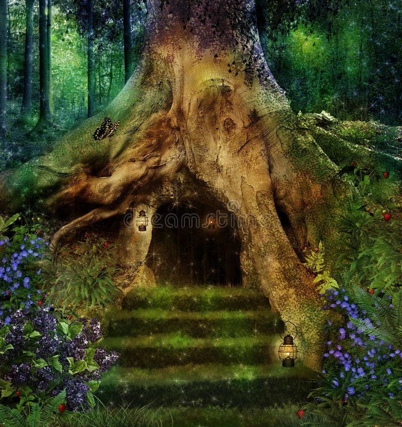 The house in the tree royalty free stock photo