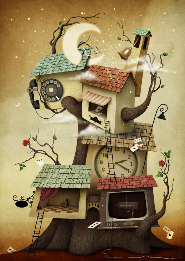House on the tree stock illustration