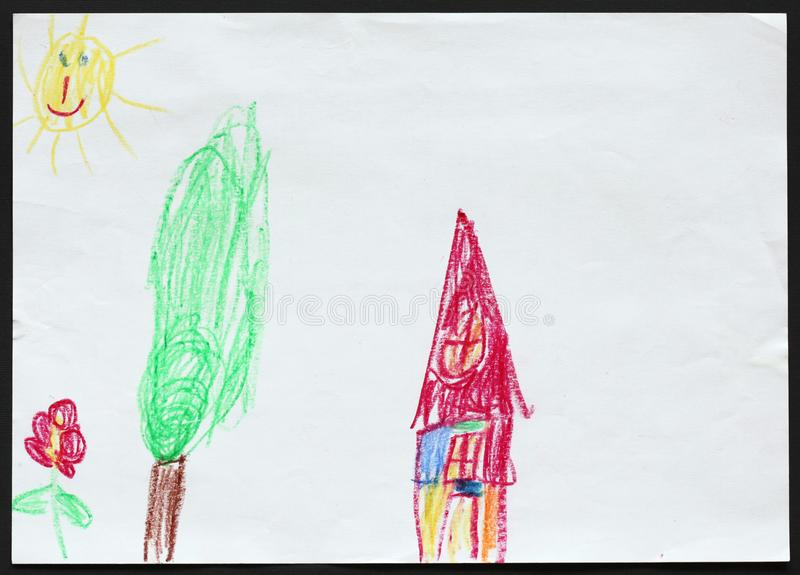 House and Tree and Flower. Child`s Drawing. royalty free illustration