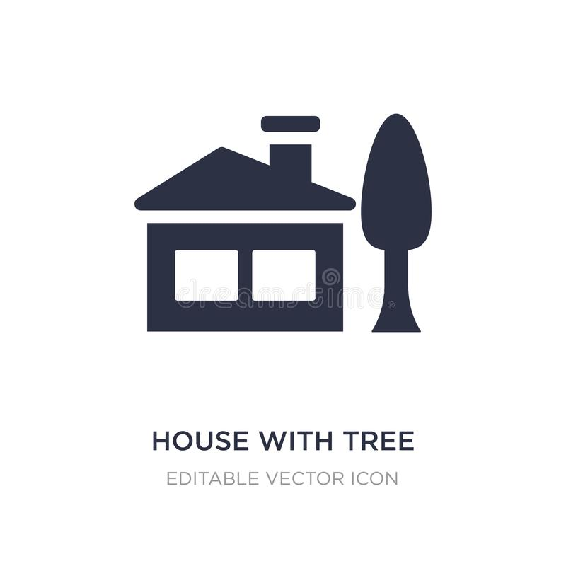 house with tree icon on white background. Simple element illustration from Buildings concept royalty free illustration