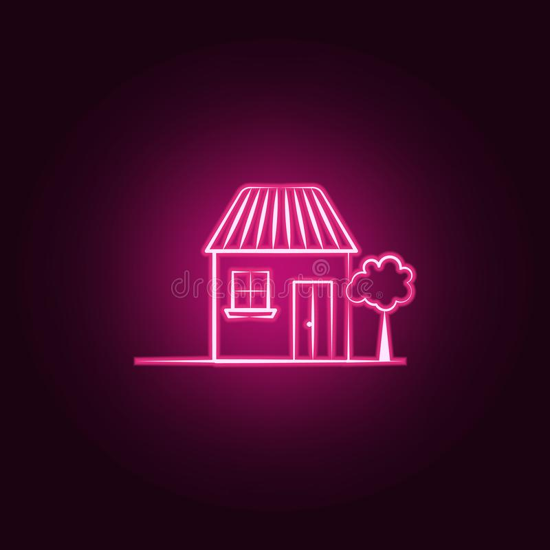 House, tree neon icon. Elements of Imaginary house set. Simple icon for websites, web design, mobile app, info graphics stock illustration