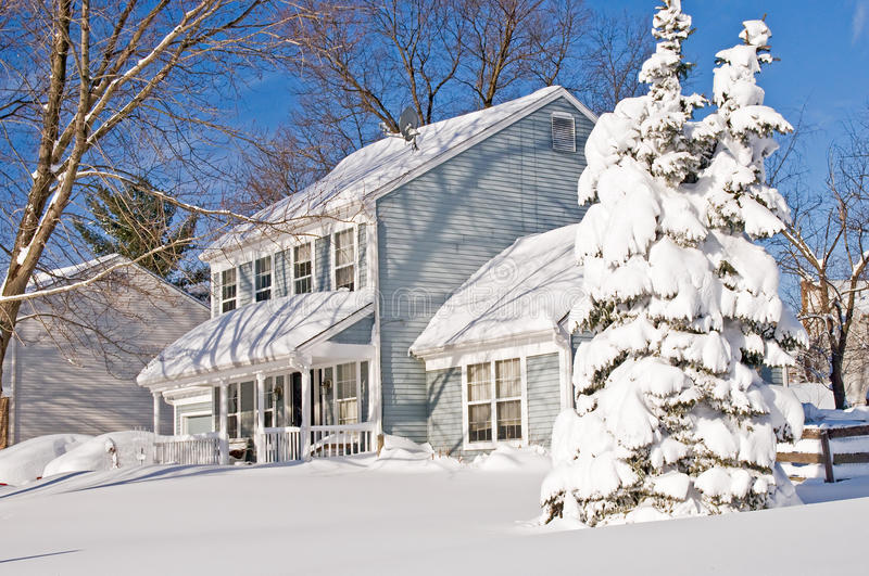Download House And Tree After Snowstorm Stock Image - Image: 12912239
