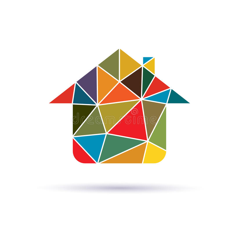 House in triangles logo vector illustration