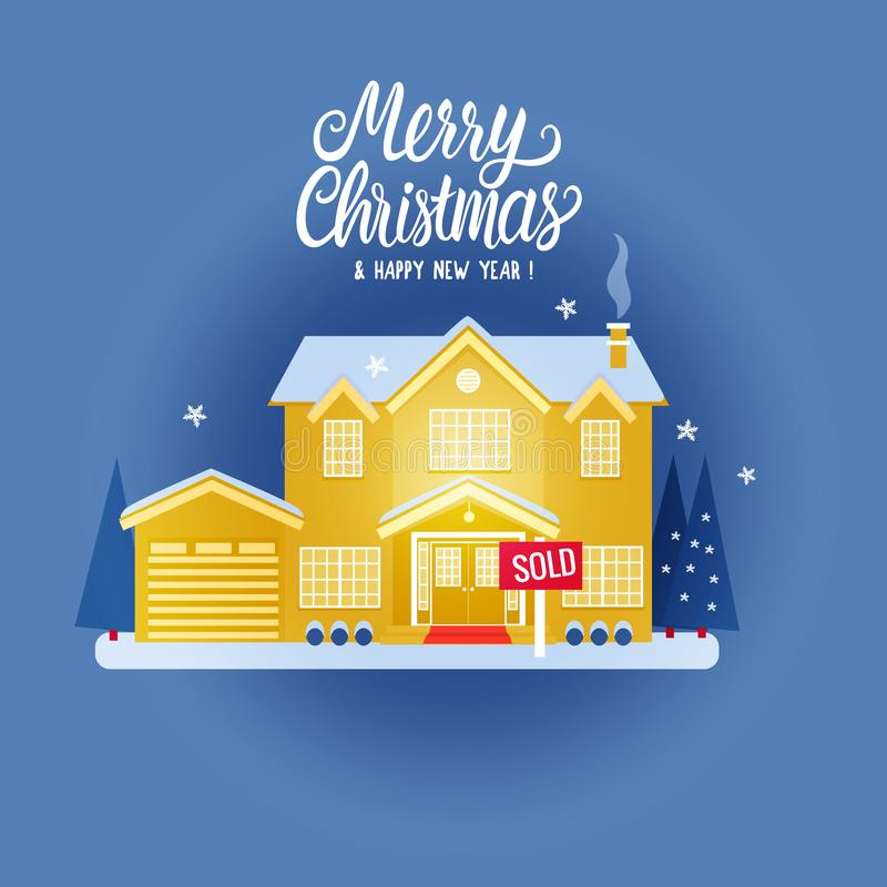 Free House Two Story Cottage Yellow Color For Sale. Sold Sign. Flat Vector Illustration On Blue Background. Winter Magical Stock Images - 130741564