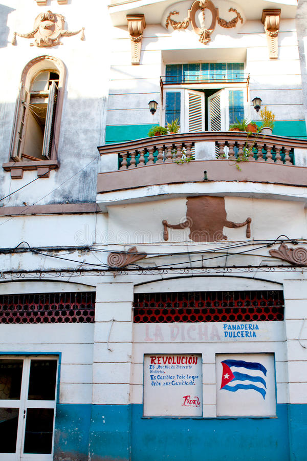 House in the typical colonial Spanish architecture. Havana, Cuba royalty free stock photography
