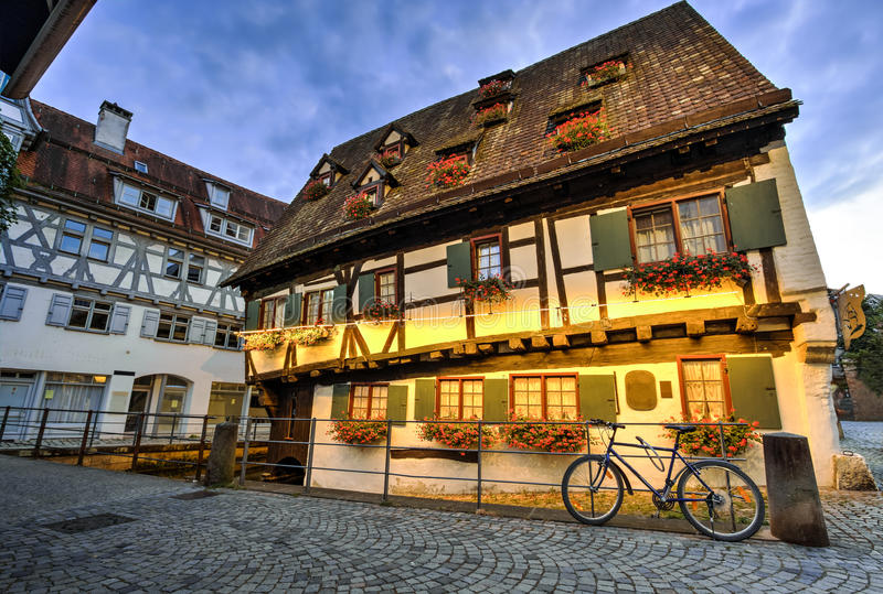 House in Ulm, Germany. Old house and street in Ulm, Germany stock photography