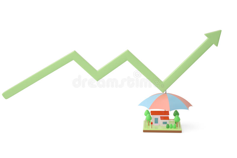 House with umbrellas and arrow.3D illustration. House with umbrellas and arrow 3D illustration vector illustration