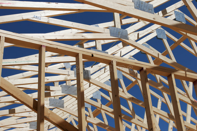 House under construction. Frame of a new house under construction stock image