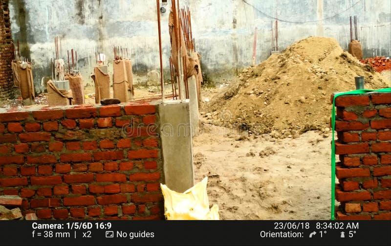 House under construction brick cement stock image