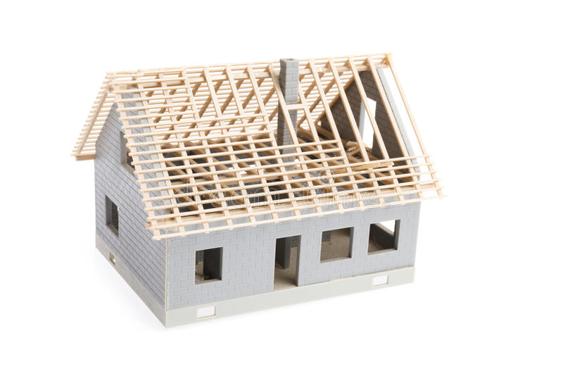 House under construction. Over white background stock images