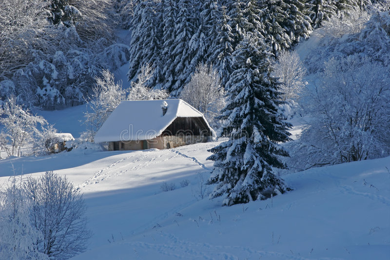 Download House under snow stock image. Image of mountain, impossible - 4509303