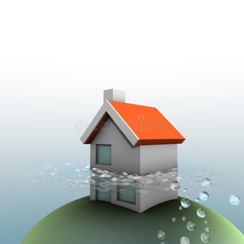 House under water stock illustration